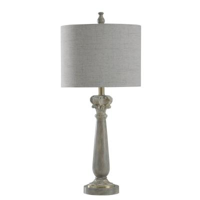 29 in. Grayish Brown Faux Marble Table Lamp with Charcoal Striations Hardback Fabric Shade