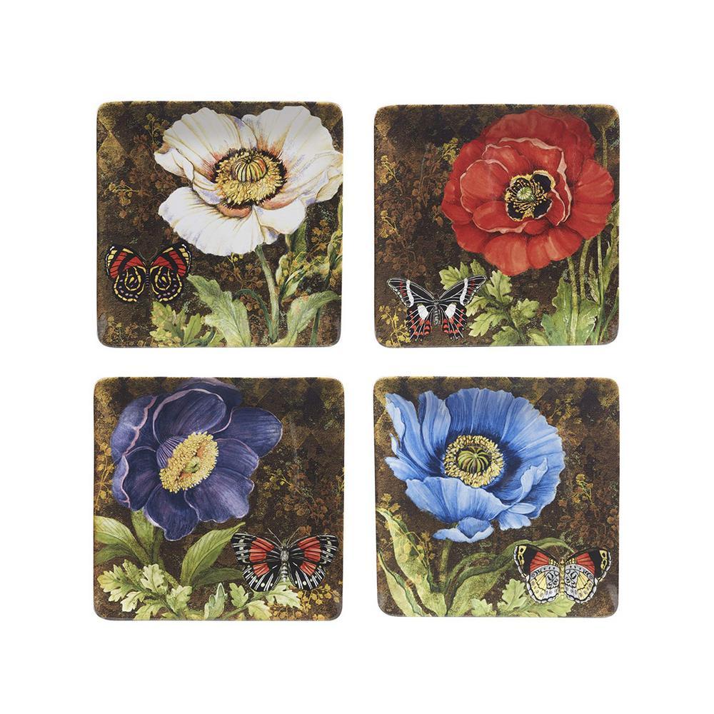 Certified International Poppy Garden 10.75 in. Multi-Colored Dinner Plate (Set of 4)
