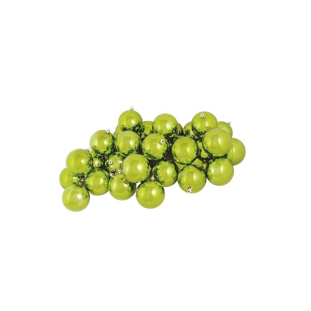 Shiny Green Kiwi Shatterproof Christmas Ball Ornaments (12-Count)