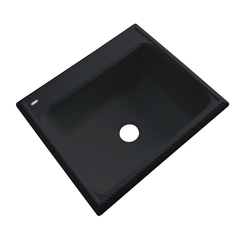 Thermocast Wentworth Drop-In Acrylic 25 in. Single Bowl Kitchen Sink in Black