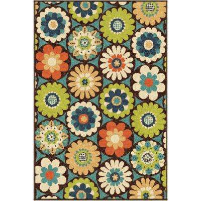 Floral Ring Multi 8 ft. x 11 ft. Indoor Area Rug