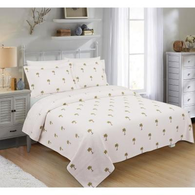 The Palm Ivory Twin Coverlet