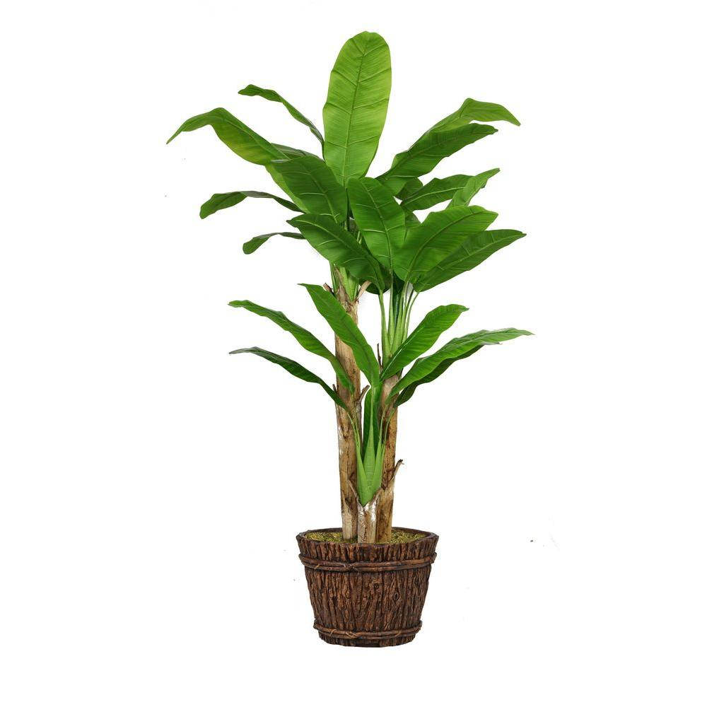 80 in. Tall Banana Tree with Real Touch Leaves in Planter