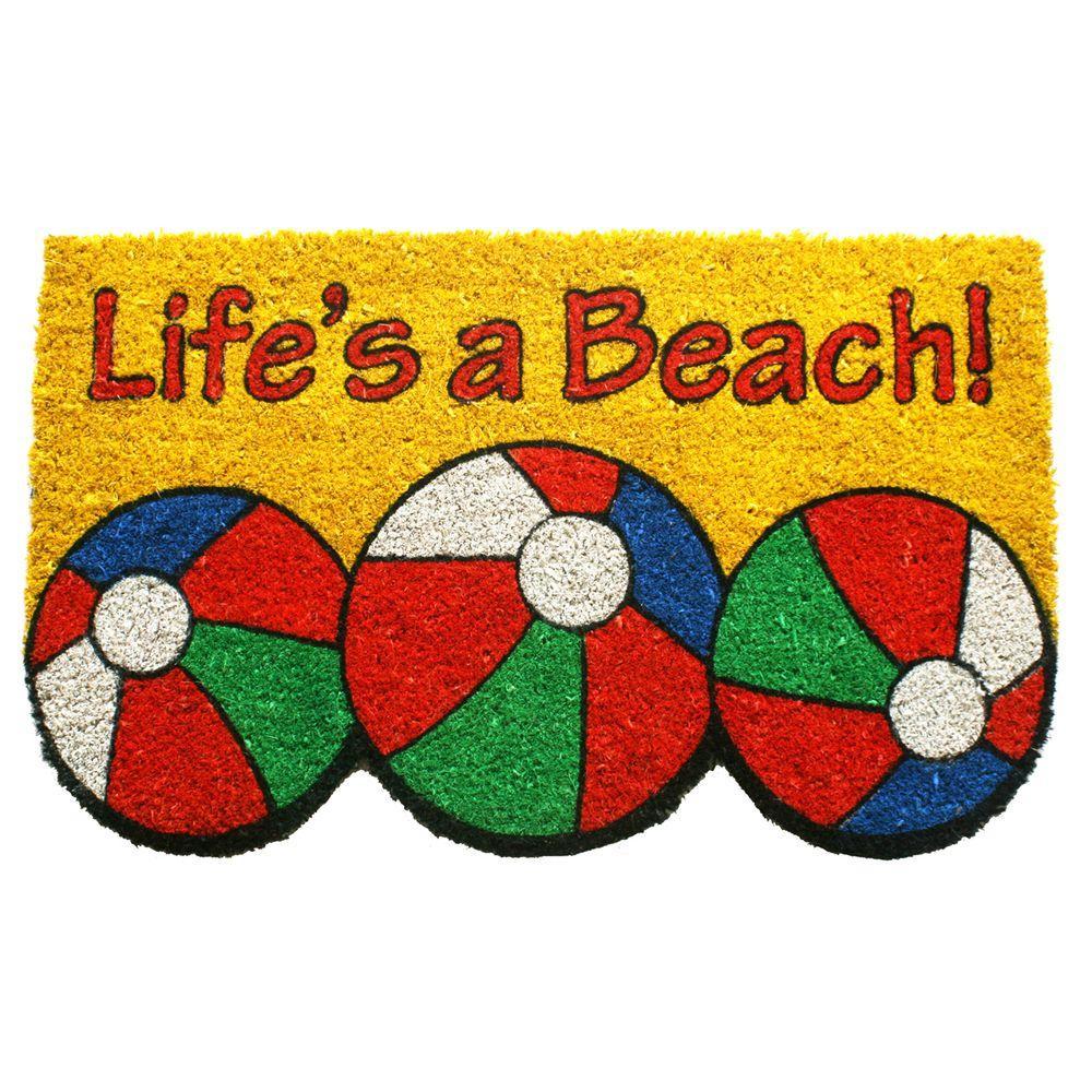 Entryways Lifeu0027s A Beach 17 In. X 28 In. Non Slip Coir Door Mat