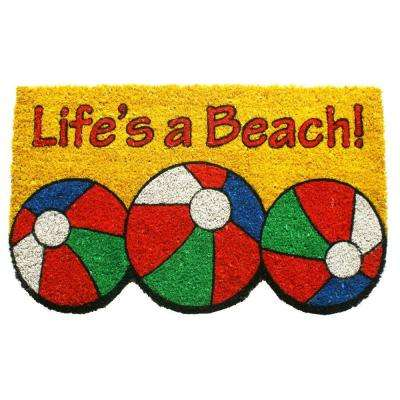 Life's a Beach 17 in. x 28 in. Non Slip Coir Door Mat