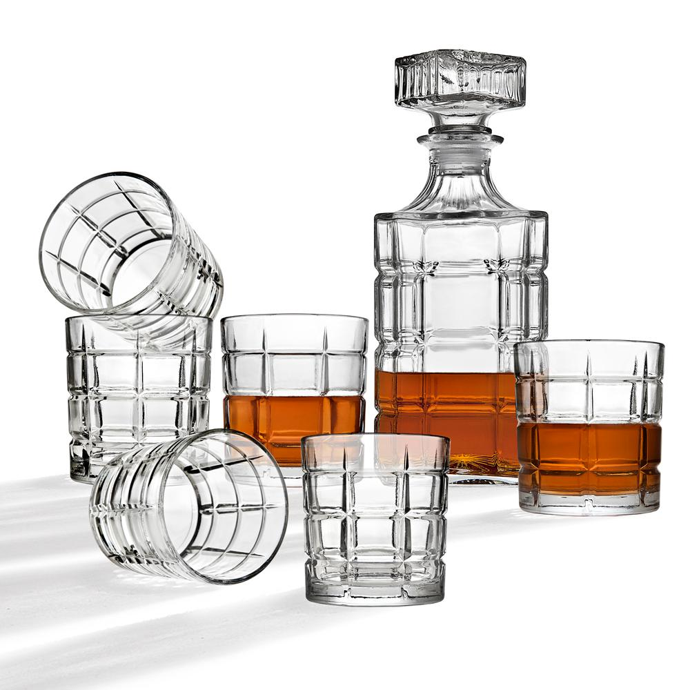 StudioSilversmiths Studio Silversmiths 34 oz. Clear Crystal Decanter and 10 oz. DOF Whiskey Glasses (7-Piece Set)