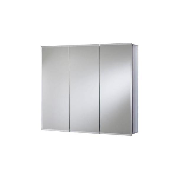 30 in. W x 26 in. H Frameless Aluminum Recessed or Surface-Mount Bathroom Medicine Cabinet with Easy Hang System