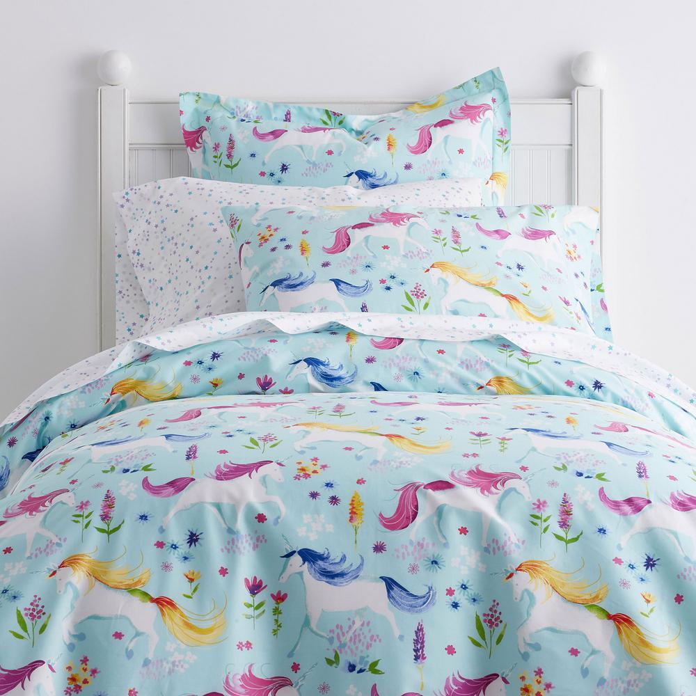Unicorn Garden Cotton Percale Duvet Cover