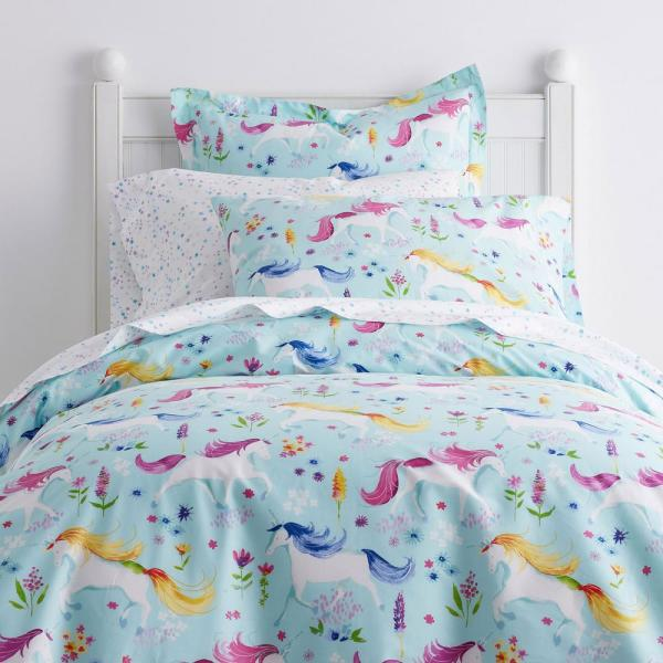 Company Kids by The Company Store Unicorn Garden Cotton Percale Queen