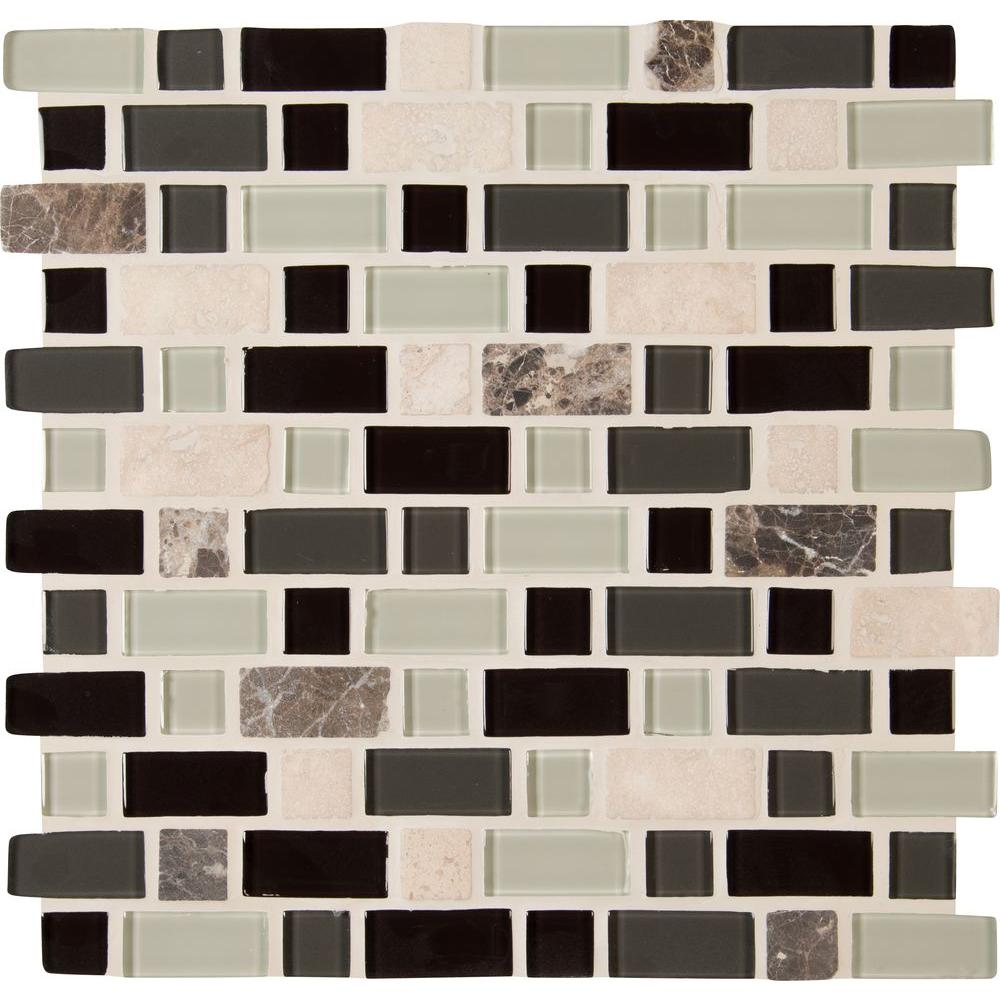 MSI Woodlands 12 in. x 12 in. x 6mm Glass Stone Mesh-Mounted Mosaic Tile