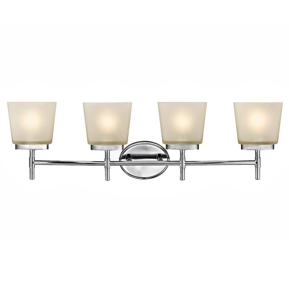 Home Decorators Collection 4 Light Polished Chrome Vanity Light With Frosted Oval Glass Shades