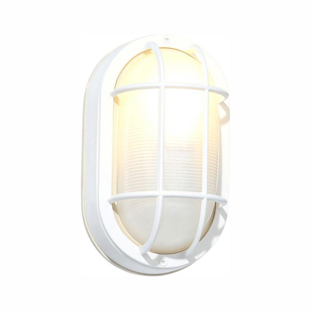 White Outdoor Oval Bulkhead Wall Light