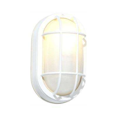 White Outdoor Oval Bulkhead Wall Light