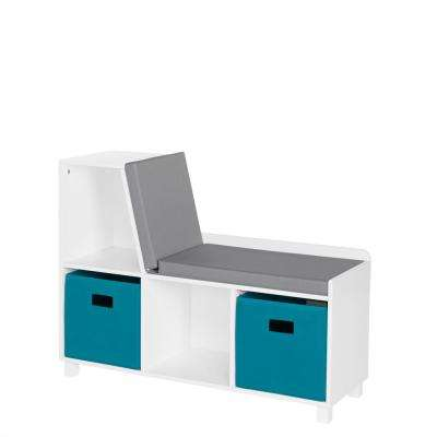 Kids White Storage Bench with Cubbies with 2pc Turquoise Bins