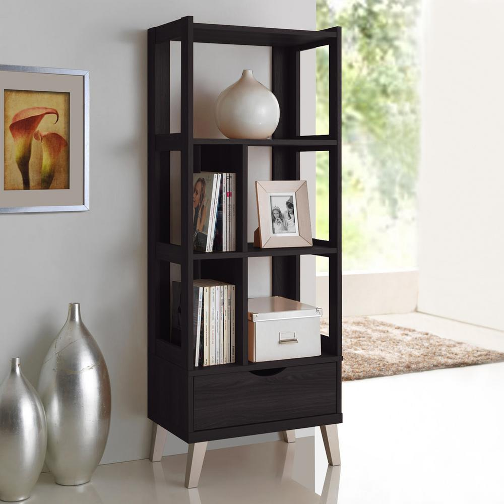 Kalien Contemporary Dark Brown Wood Finished Shelf