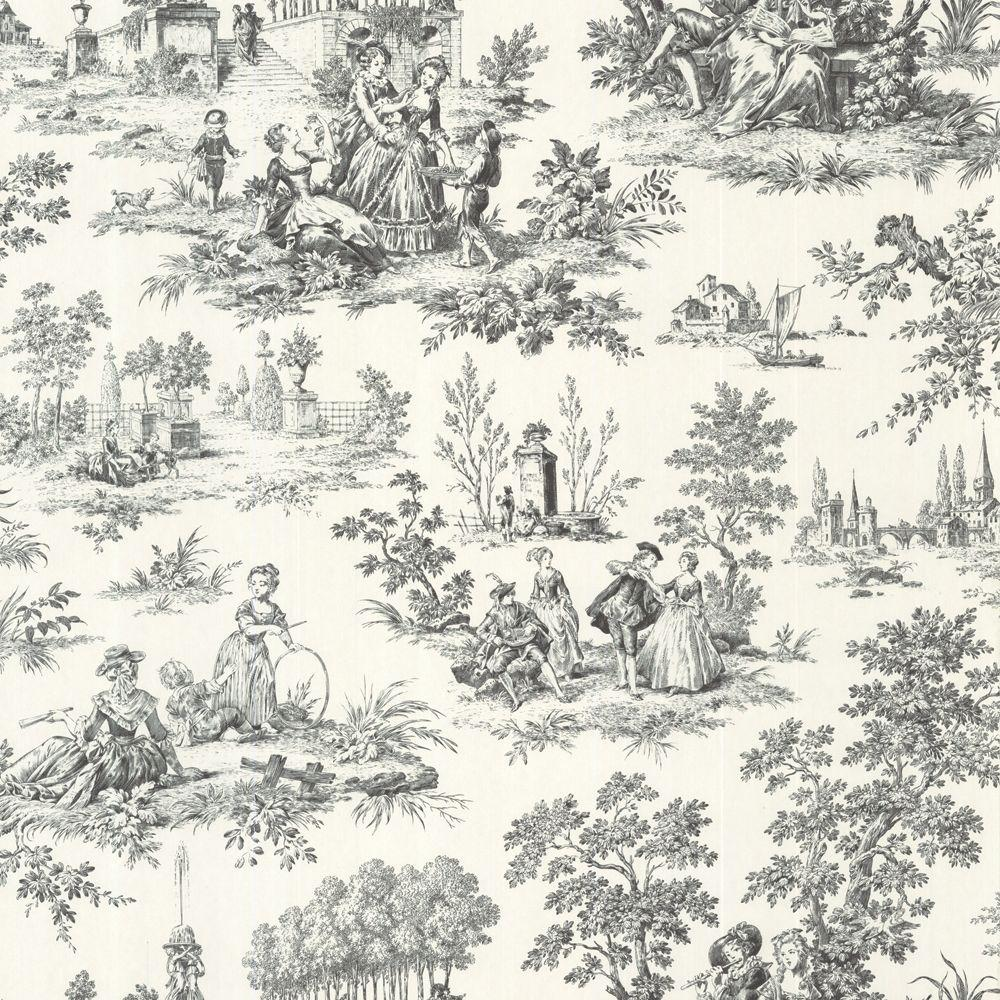 The Wallpaper Company 8 in. x 10 in. Black and White Classic Midscale Toile Wallpaper Sample