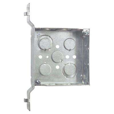 2-Gang 4 in. New Work Metal Square Electrical Box with SV Bracket (Case of 25)