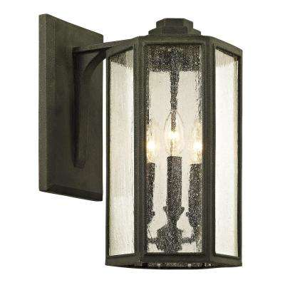Hancock 3-Light Vintage Bronze 15.5 in. H Outdoor Wall Mount Sconce with Clear Seeded Glass