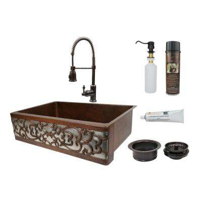 All-in-One Dual Mount Copper 33 in. Single Bowl Scroll Kitchen Sink with Faucet in Oil Rubbed Bronze and Nickel