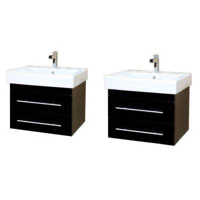 Lyon D 49 in. W Double Vanity in Black with Porcelain Vanity Top in White