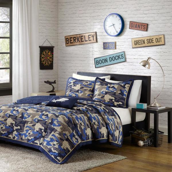 Mi Zone Andrew 4-Piece Blue Full/Queen Abstract Coverlet Quilt Set MZ80-308