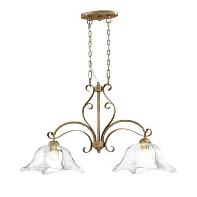 Chatsworth Collection 2-Light Vintage Gold Island Light with Clear Glass