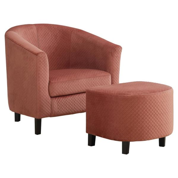 Dusty Rose Quilted Fabric 2 Piece Accent Chair