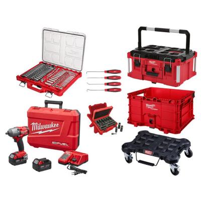3/8 in. & 1/4 in. SAE/Metric Ratchet & Socket Mechanics Tool Set (117-Pc) W/Impact Wrench Kit & PACKOUT Set (4-Piece)