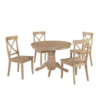 Classic 5-Piece White Wash Dining Set