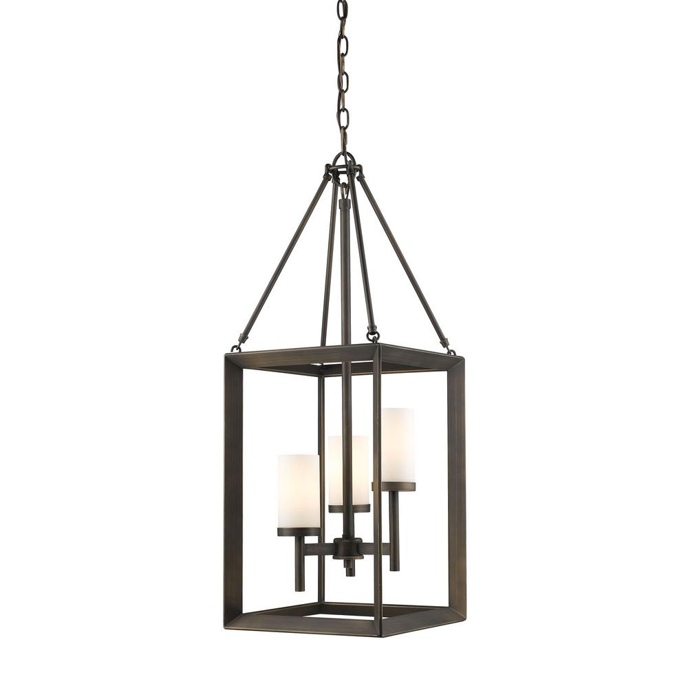 Smyth 3-Light Gunmetal Bronze Pendant with Clear Glass