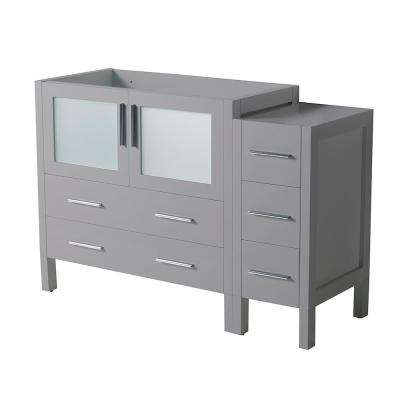 Torino 48 in. W Modern Bath Vanity Cabinet Only in Gray with Side Cabinet