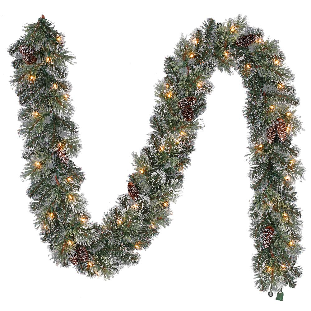 Pre Lit Artificial Sparkling Pine Christmas Garland With 120 Tips And 50 Clear Lights Gt90m2r70c02 The Home Depot