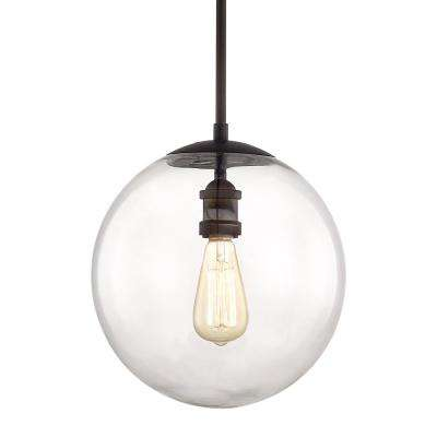 12 in. 1-Light Aged Bronze Globe Pendant Vintage Bulb Included