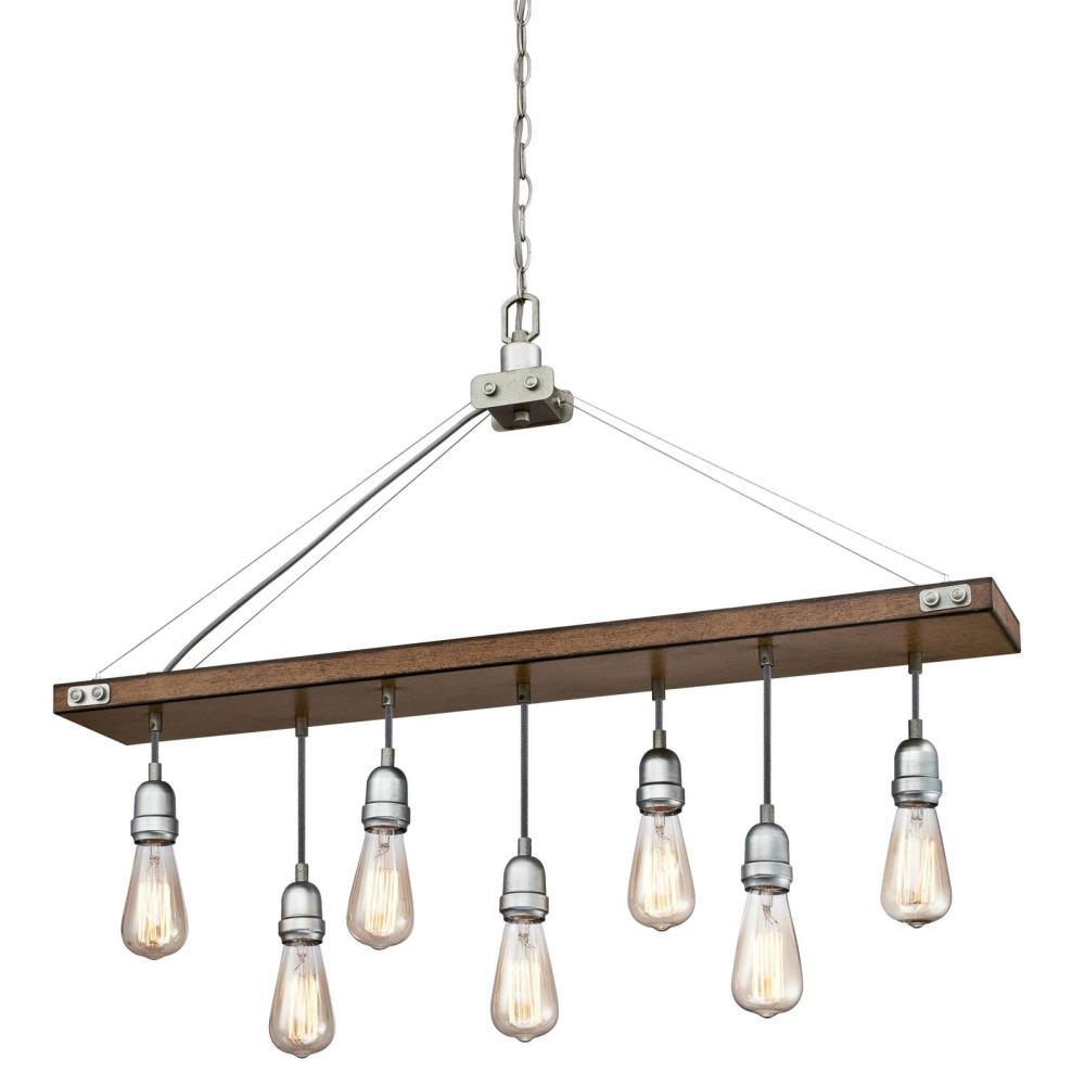 Westinghouse Elway 7-Light Barnwood with Galvanized Steel Chandelier
