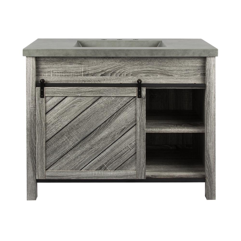 Lennox 42 in. W x 21 in. D Bath Vanity in Gray Wood Grain with Faux Cement Top in Gray with Grey Basin