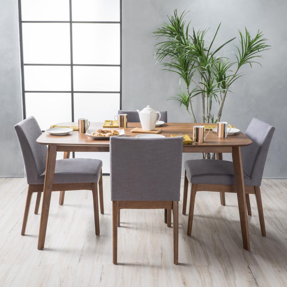 Kwame 5-Piece Dark Grey and Natural Walnut Dining Set