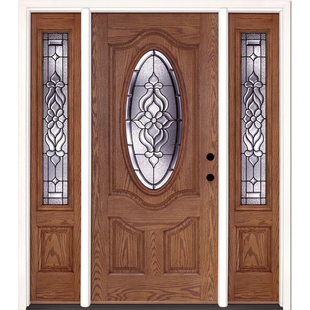 Feather River Doors 67.5 in.x81.625 in. Lakewood Patina 3/4 Oval Lt Stained Medium Oak Left-Hand Fiberglass Prehung Front Door w/ Sidelites