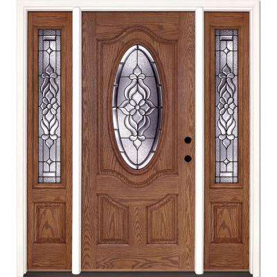 67.5 in.x81.625 in. Lakewood Patina 3/4 Oval Lt Stained Medium Oak Left-Hand Fiberglass Prehung Front Door w/ Sidelites