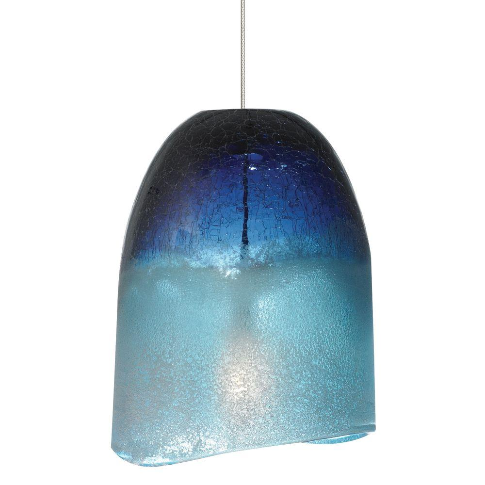 LBL Lighting Chill 1-Light Satin Nickel Xenon Mini Pendant with Blue ...