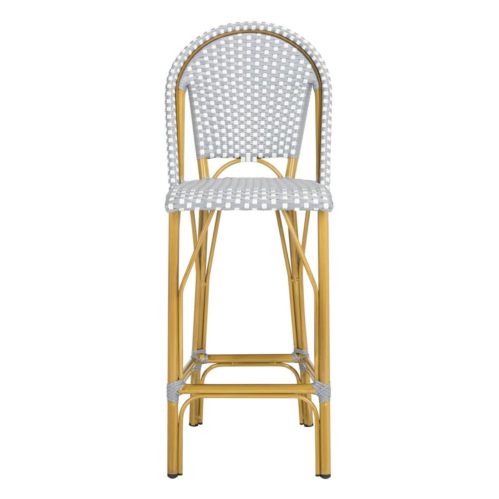 Ford Grey And White Wicker Outdoor Bar Stool