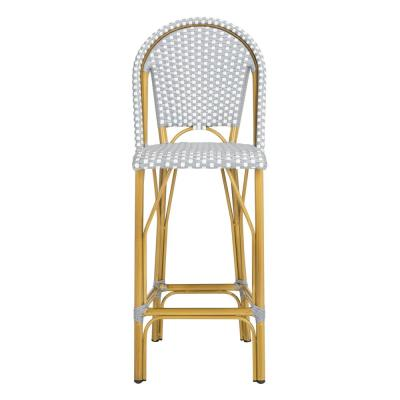 Ford Grey/White Wicker Outdoor Bar Stool