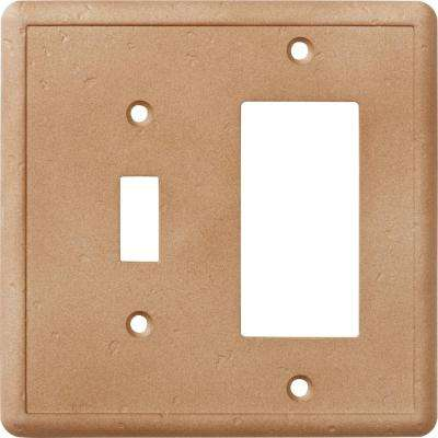 2-Gang 1 Toggle Combination Cast Stone Wall Plate in Noche