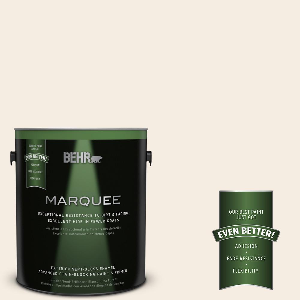 BEHR MARQUEE 1-gal. #OR-W10 White Flour Semi-Gloss Enamel Exterior Paint