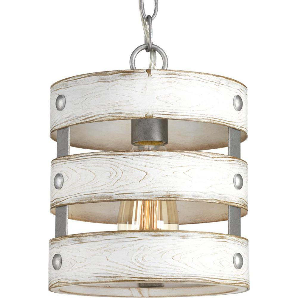 Progress Lighting Gulliver 1 Light Galvanized Drum Pendant With Weathered White Wood Accents