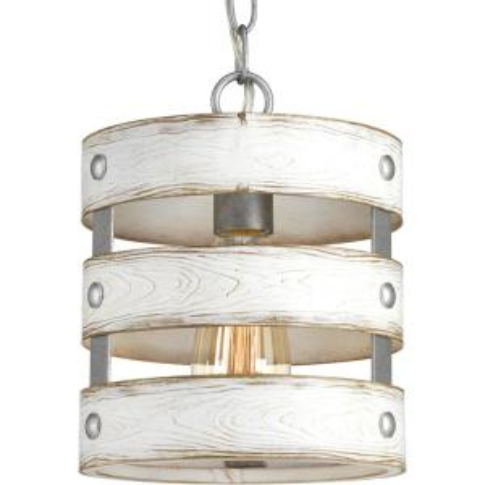 Gulliver 1 Light Galvanized Drum Pendant With Weathered White Wood Accents Progress Lighting