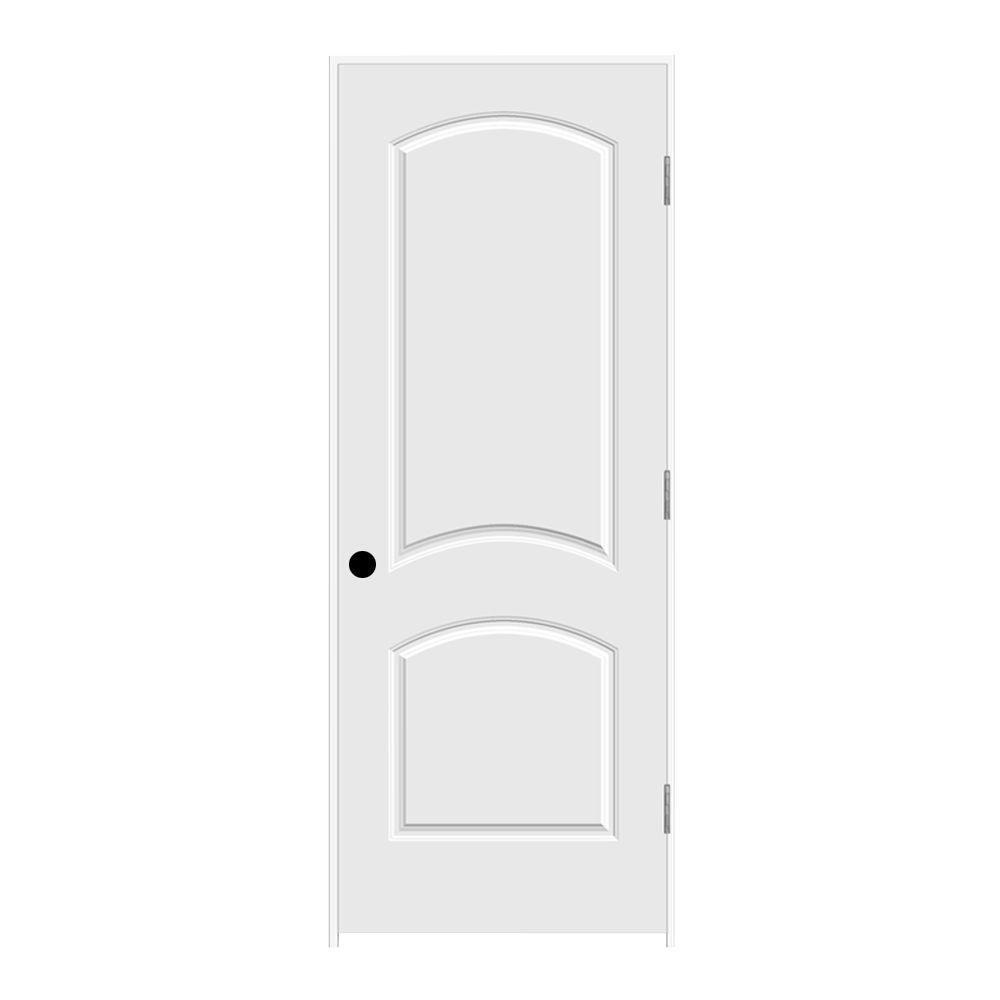 30 in. x 80 in. Primed Left-Hand C2050 2-Panel Arch Top