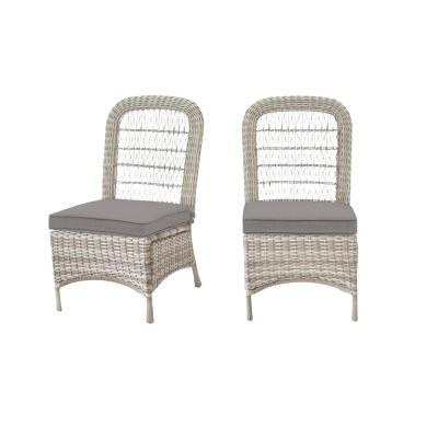 Beacon Park Gray Wicker Outdoor Patio Armless Dining Chair with CushionGuard Stone Gray Cushions (2-Pack)