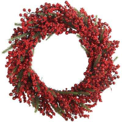30 in. Artificial Fall Wreath with Red Berries