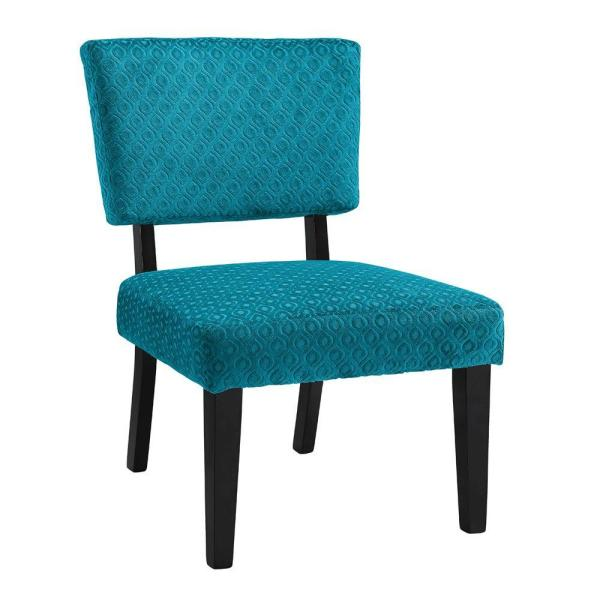 Linon Home Decor Taylor Teal Chenille Side Chair