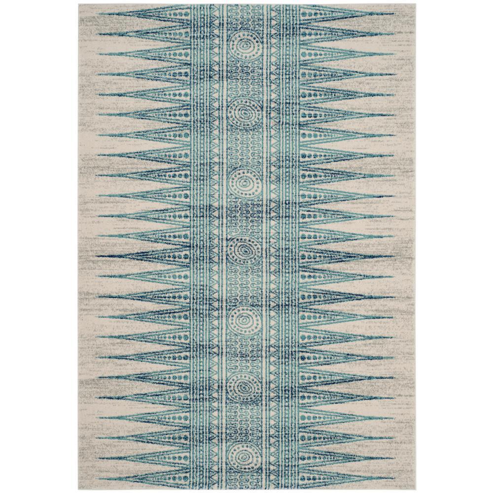 Evoke Ivory/Turquoise 4 ft. x 6 ft. Area Rug